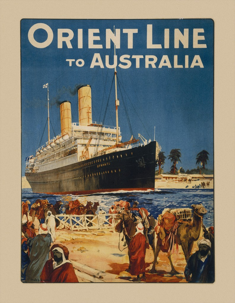 poster-for-Orient-Line-service-to-Australia-featuring-Otranto-in-the-Suez-Canal-lithograph-c.1912